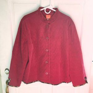 WOMEN'S hearts of palm Red Quilted Jacket SIZE 16